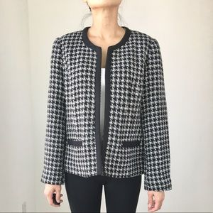 CHIC Collarless tweed houndstooth blazer jacket